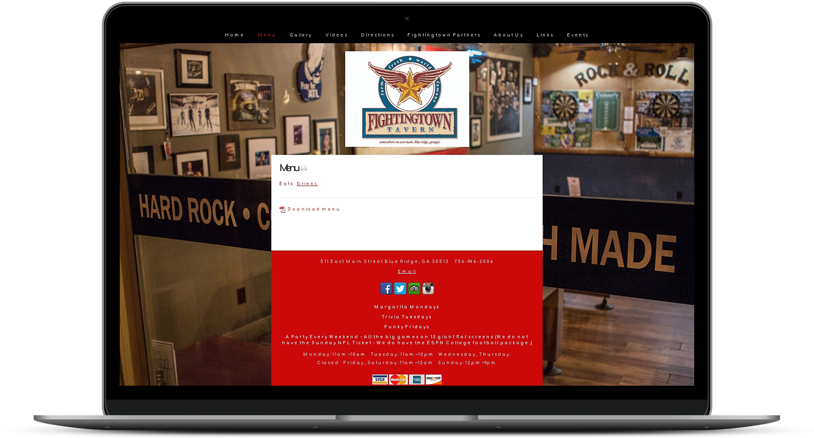 Fightingtown Tavern Website Before