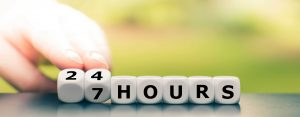 24 hours, 7 days per week