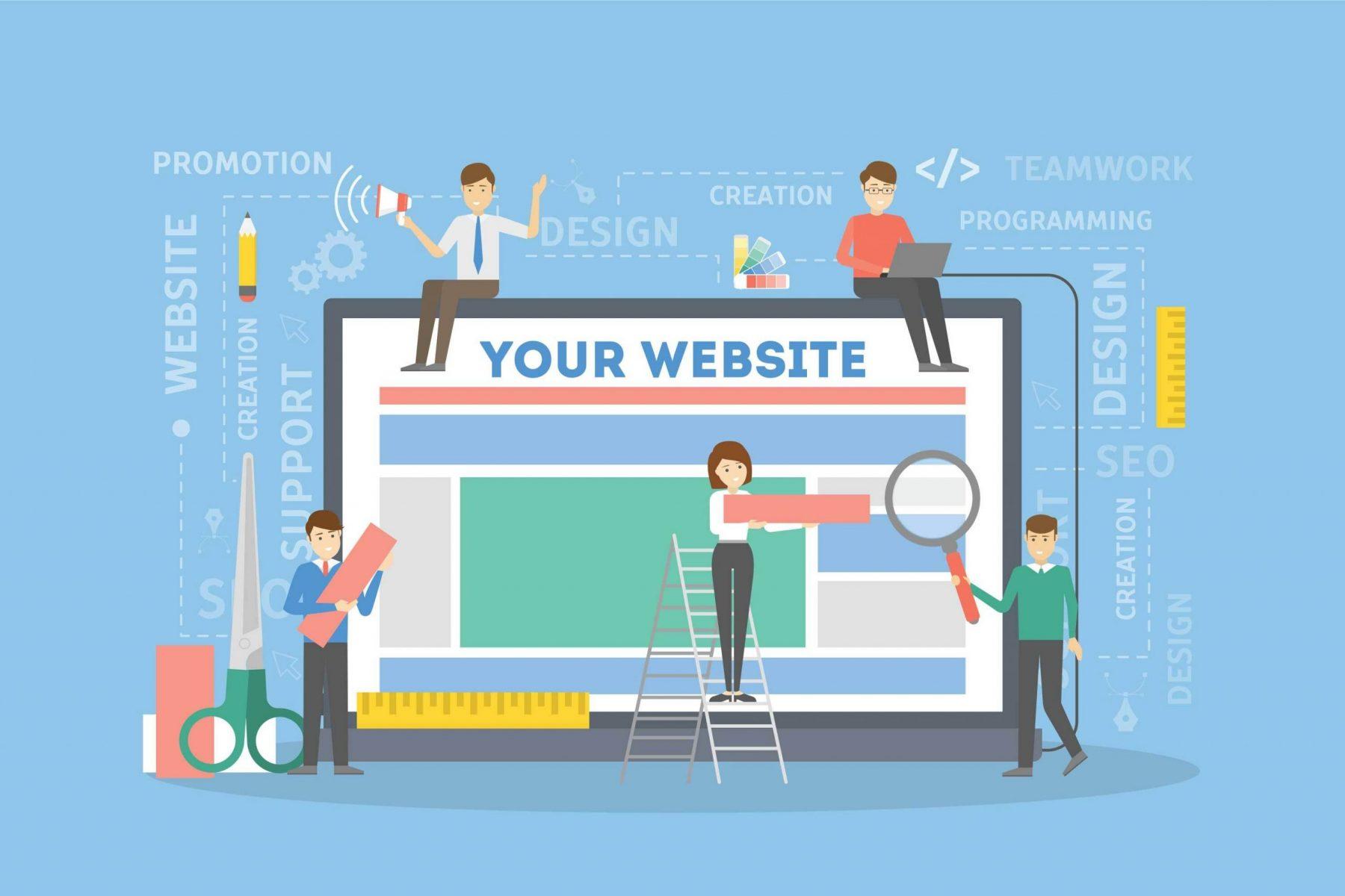People building a website